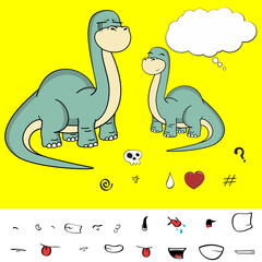 dinosaur brontosaurus expressions cartoon set in vector format