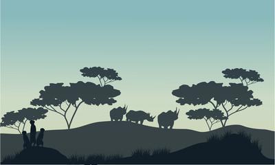 Meerkat and rhino silhouette in savannah