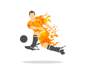 vector illustration of soccer (football) player in an action with splash and watercolor