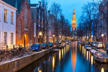 Fotobehang Amsterdam South Church Zuiderkerk Amsterdam at dusk