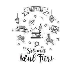 Eid mubarak doodle, idul fitri doodle