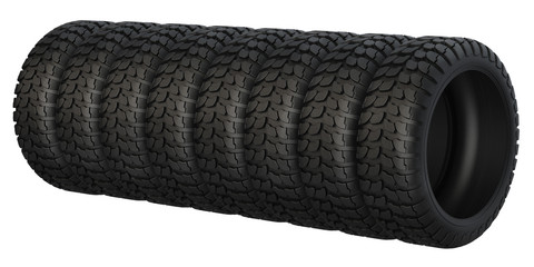 New rubber tires for car isolated on white background.
