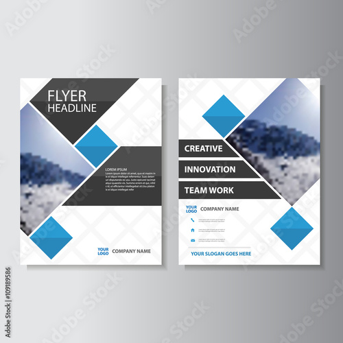 blue vector corporate business proposal brochure leaflet flyer, Blue Presentation Template, Presentation templates