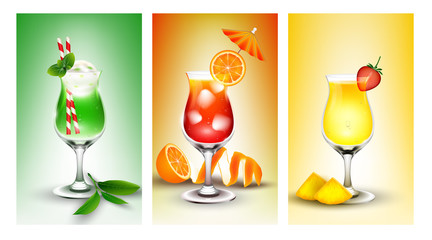 Fresh banner set of  fruit juice