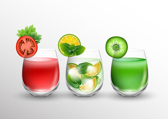 Fruit and vegetable juice in glasses and pieces of fresh fruits over glass