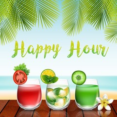 Summer drinks on the table in beach background