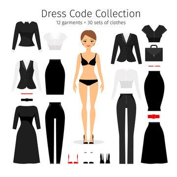 Women dress code set. Woman office worker business dress code collection vector illustration
