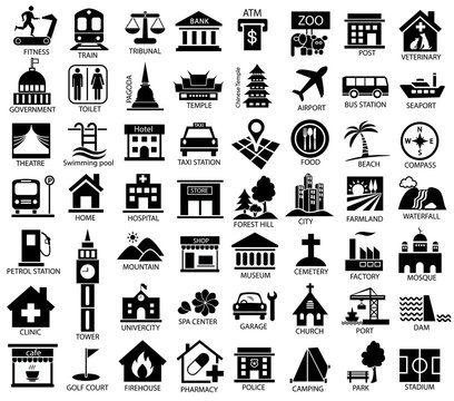 map symbol icon set