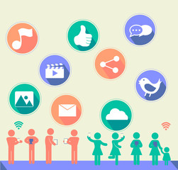 Social network icon with flat design and people with music, thum