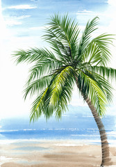 Tropical resort view with the seashore and coconut palm. Original watercolor painting.