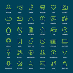 Set of basic green outline icons for print or web