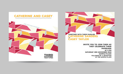 Wedding invitation card with abstract geometric background