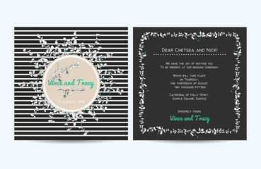 Wedding invitation card with striped background and hand drawn b
