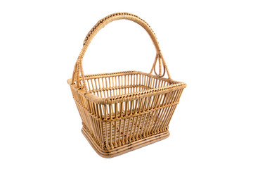Beautiful old rattan basket isolated on white background