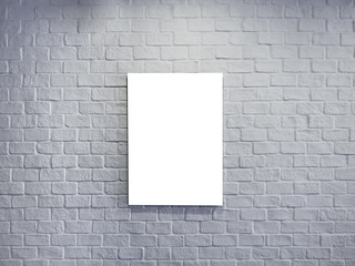 Blank Mock up Poster on White Brick wall Background