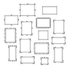Set of hand drawn decorative photo frames. Vintage frames. Doodles, sketch for your design. Vector illustration.
