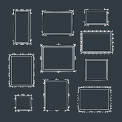 Set of hand drawn decorative photo frames. Vintage frames. Hand drawn with chalk on the black chalkboard. Doodles, sketch for your design. Vector illustration.