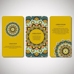 Set of ornamental cards, flyers with flower mandala in orange, green color tones. Vintage decorative elements. Indian, asian, arabic, islamic, ottoman motif. Vector illustration.