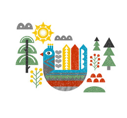 Cute print with bird in the forest.