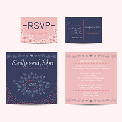wedding set with invitation and rsvp cards