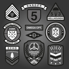 Set Of Military and Army Patches and Badges Monochrome 2
