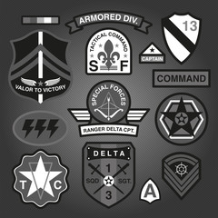 Set Of Military and Army Patches and Badges Monochrome 3