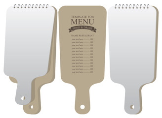 Menu template for restaurant or cafe in the form of a cutting board