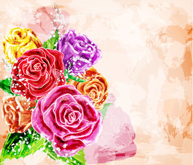 Painted flower background for invitation or greeting cards