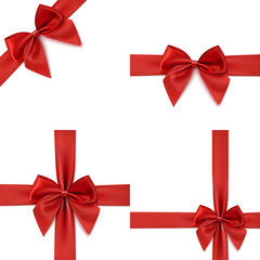Set of four red bows and ribbons.