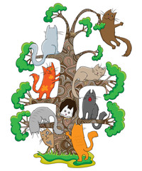 Funny cats of different breeds sitting in a tree,set of cats and the tree on a white background