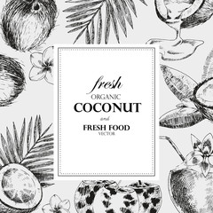 Hand drawn coconut design template. Retro sketch style vector tropical food illustration.
