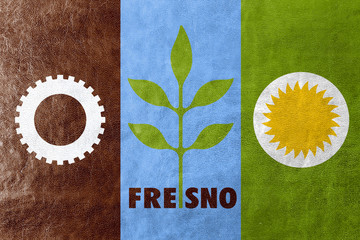 Flag of Fresno, California, painted on leather texture