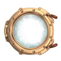 Ship porthole with with dirty glass. On white background. 3d render