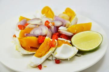 salted egg salad on dish