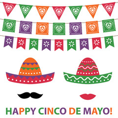 Cinco De Mayo party decoration and photo booth props card