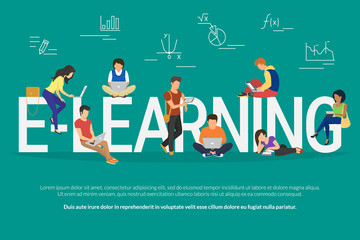 E-learning concept illustration of young various people using laptop, tablet pc and smartphone for distance studying and education. Flat design of guys and young women staying near big letters e
