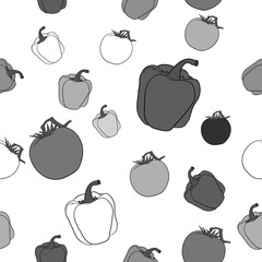 Seamless pattern with tomatoes and peppers