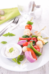 fried vegetable and dip