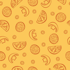 pizza seamless pattern. Vector illustration