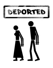 """Abstract silhouette icon of man and woman. Man and woman handcuffed. Symbol deportation, deprivation of freedom of movement, exile. The print, stamp """"deported"""""""