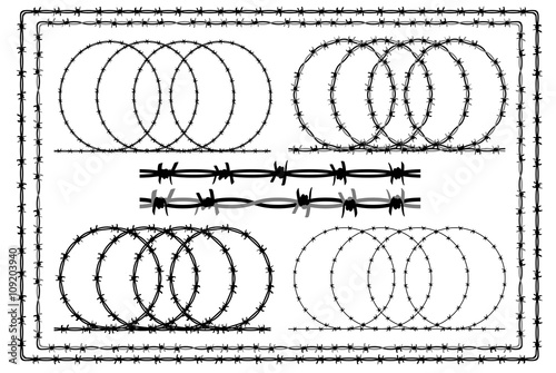Barb wire (barbed wire) border set - white silhouette on black ...