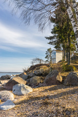 Small wooden lighthouse in Kasmu village, Estonia