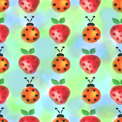 Seamless pattern with insects and fruits. Watercolor background with hand drawn lady bugs and strawberries. Series of Watercolor Seamless Patterns, Backgrounds.