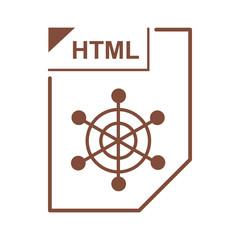HTML file icon, cartoon style