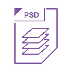 PSD file icon, cartoon style