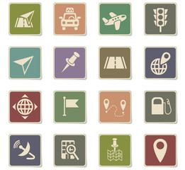 navigation ransport map icon set