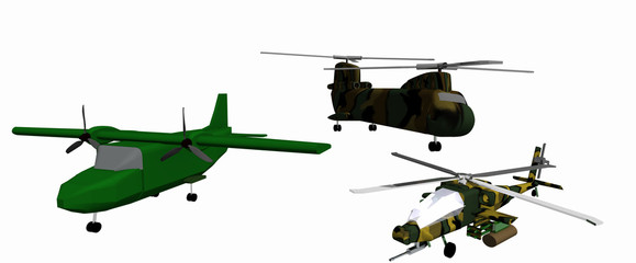 three low-poly 3D models of combat helicopters. White background. Apache, CH 46, Casa 212