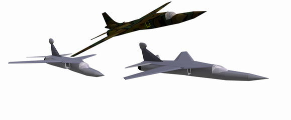 three low-poly 3D models of combat aircraft. White background. F-111D, EF-111A