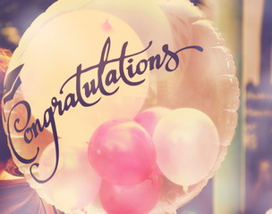 congratulations bolloon with vintagee filter colorful