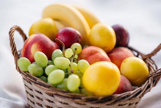 fruit basket on a white background